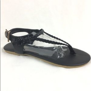 LAST PAIR Braided Black Thing Sandals
